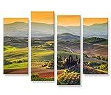 islandburner Bild Bilder auf Leinwand Toskana V5 Italien Landschaft 4er XXL Poster Leinwandbild Wandbild Dekoartikel Wohnzimmer Marke