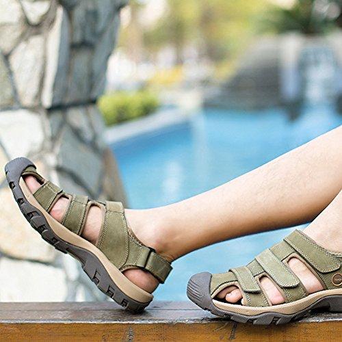 Moollyfox Sandales Homme En PU-Cuir/Velcro Chaussures De Marche Kaki