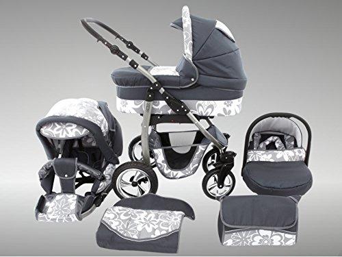 Chilly Kids Dino Kinderwagen Sommer-Set (Sonnenschirm, Autositz & Adapter, Regenschutz, Moskitonetz, Getränkehalter, Schwenkräder) 40 Graphit & Graphit Blumen