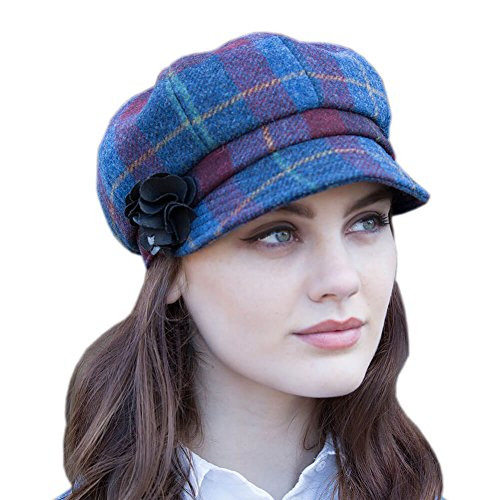 d4d96d34b3f82 Mucros Weavers Ladies newsboy Hat - Blue & Red Plaid, Made In Ireland, One