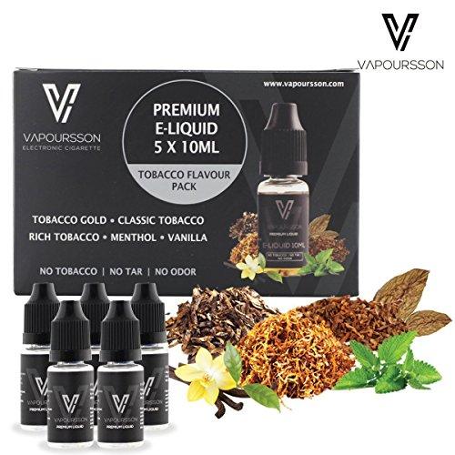 VAPOURSSON 5 X 10ml E Liquid | Klassik Tabak | Gold Tabak | Rich-Tabak | Menthol | Vanille | Neue Formel für ein starkes Geschmack mit nur hochwertige Zutaten | Für elektronische Zigaretten und E Shisha hergestellt.