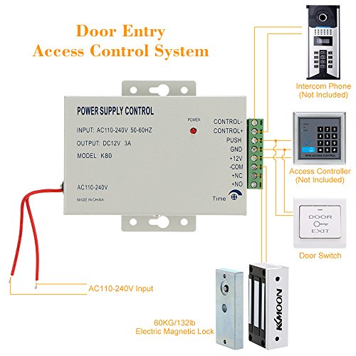 KKmoon Electric Magnetic Lock 60KG/132lb Electric Magnetic Lock + Door Switch + DC12V Power Supply for Door Entry Access Control System
