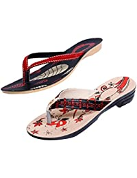 Indistar Women Comfortable Flip Flop House Slipper And Sandal-Cream/Red/Black+Red- Pack Of 2 Pairs
