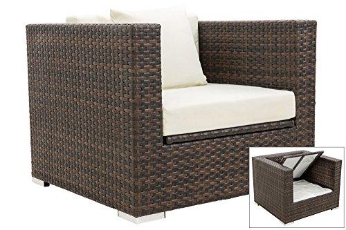 OUTFLEXX 1-Sitzer Lounge Sessel aus hochwertigem Polyrattan in braun marmoriert mit Ideal...