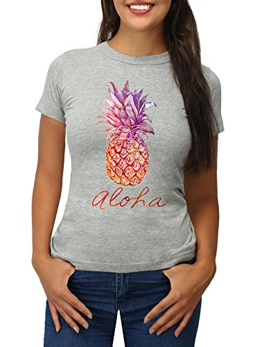 Ananas Aloha Shirt (Strawberry Island Damen T-Shirt ALOHA Hawaii Ananas Printshirt grau S)