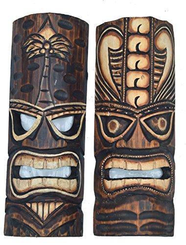2-Tiki-Mscaras-30-cm-Estilo-Hawaii-Juego-de-2-madera-Mscara-pared-Mscara-Isla-de-Pascua
