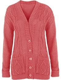 (womens long knitted grandad cardigan)(me) femmes tricoté le papy cardigan