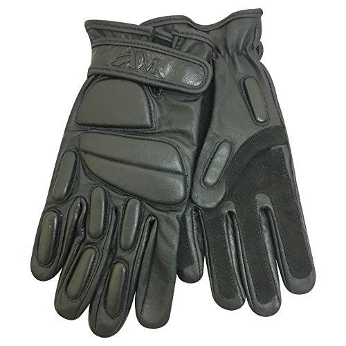 Prime Leather Articulation rembourré Court complète Doigt spécial Patrol Duty Gants de Cuir véritable Police avec Protection en Caoutchouc 9013, 9013-Black