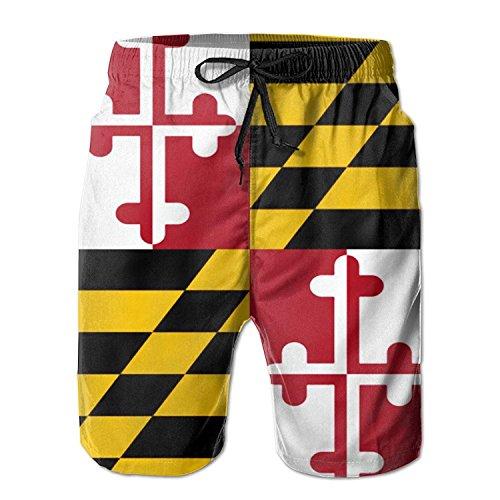 khgkhgfkgfk Mens Quick Dry Shorts Maryland Flag Boardshort Swim Trunk Beach Shorts X-Large Tri-mountain-coach