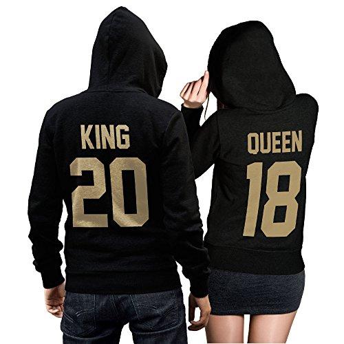 King Queen + Wunschnummer Set 2 Hoodies Pullover Pulli Liebe Love Pärchen Couple Schwarz/Gold (King M + Queen M)