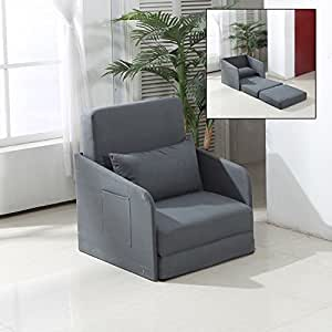 HOMCOM Single Sofa Bed Armchair Soft Floor Sleeper Lounger Futon Couch w/Pillow and Pocket Grey