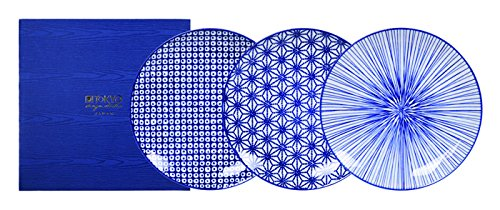 Tokyo Design Studio, 3 Assiette en porcelaine, Diamètre 20cm - Coffret de 3, Nippon Blue