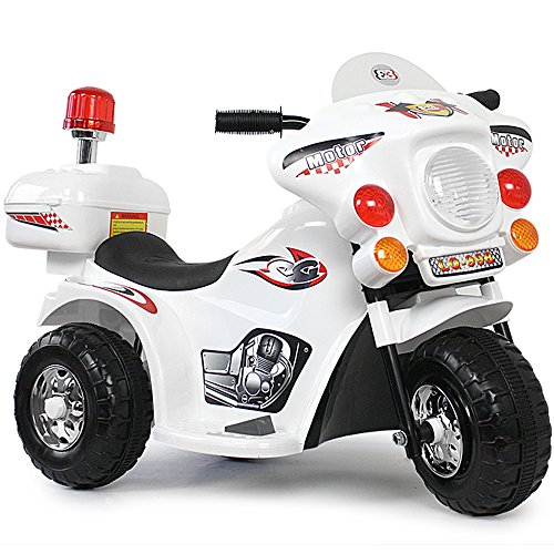 #Kinder Elektro Polizei Motorrad Fahrzeug Kindermotorrad Akku Elektromotorrad Weiss 033#