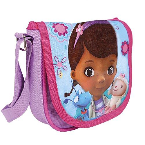 Kinder Umhängetasche für Mädchen mit Doc McStuffins Lammie und Stuffy - Kleine Umhänge für Kinder mit Frontverschluss - Violett und Blau Tasche für Reisen und Freizeit - Perletti 16x16x4cm