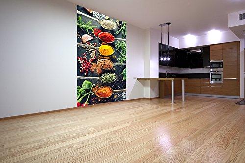 Vlies Fototapete - Kräuter und Gewürze - 150x230 cm - mit Kleister - Foto auf Tapeten - Wandtapete – Vliestapete – Wanddeko
