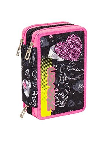 27786a401c ASTUCCIO scuola SEVEN – HEART GIRL – 3 scomparti – pennarelli matite gomma  ecc.. Nero