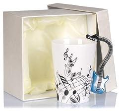 Idea Regalo - Tazza in ceramica manico a forma di chitarra - Bianco Motivo