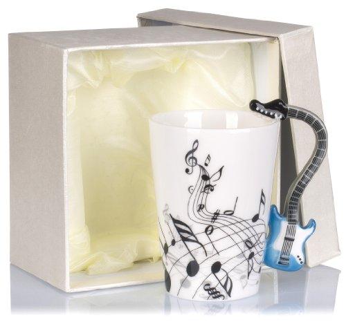 Tazza in ceramica manico a forma di chitarra - bianco motivo