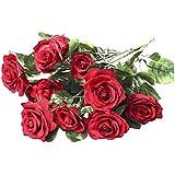 VORCOOL Mazzo di Rose rosse assortiti artificiale per centrotavola matrimonio decorazione