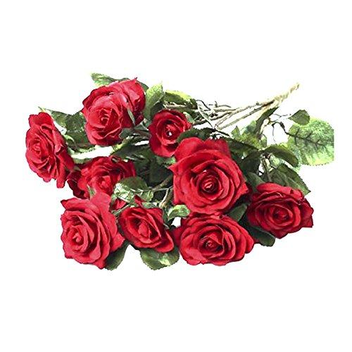 Vosarea Silk rote Rose Blumen Schön und Leben wie künstliche Rose Bouquet Mini Rose Hochzeit Home Decor Perfekt für Mittelstücke