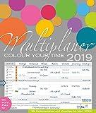 Multiplaner - Colour your time 2019: Familienplaner, 7 breite Spalten. Großer Familienkalender mit Ferienterminen, extra Spalte, Vorschau für 2020 und Datumsschieber. Format: 40x47 cm -