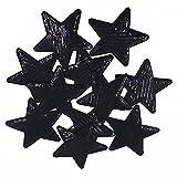 Yalulu 10 Stück Schwarz Paillette Stern Patches Aufnäher Aufbügler Applikation Zum aufbügeln Patches Bügelbild Stickerei Aufnäher Aufbügler Patch
