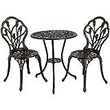 Yaheetech Ensemble de Table et Chaise Salon de Jardin Balcon Kit de Bistro 2 Chaise 1 Table en Alliage d'aluminium Bronze