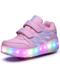 HUSK'SWARE LED Zapatos Niños Deporte Patín Ruedas Luminoso Formadores Flying Niños con Dos Ruedas Zapatillas