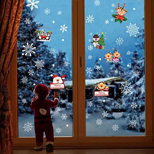 Moharwall 117 pz adesivi natalizi murali statici per finestre fiocco di neve layout scena uomo vecchio oggetti decorazioni natalizie per il ringraziamento