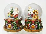 Unbekannt 2 x Schneekugel mit Schnee u. Glitzer H:14 cm,Spieluhr mit dem Lied: We wish you a merry Christmas,Weihnachtsmann und Kind (4900090)