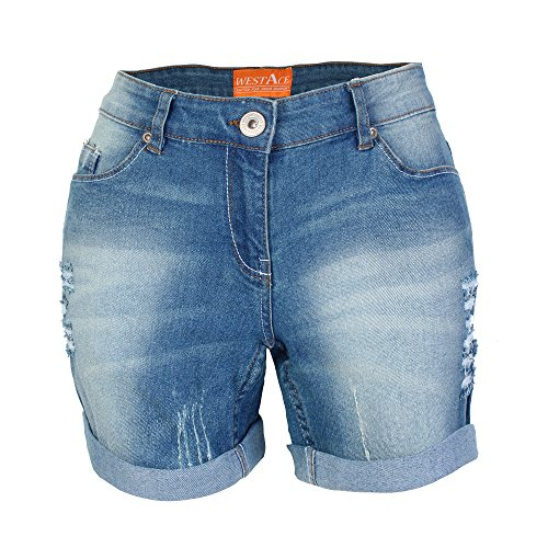 7c4c08d424bab5 westAce Damen Jeans Shorts mit Destroyed-Optik Boyfriend Stretch Denim  Kurze Hose (40 (