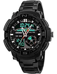 Skmei Military Large Dial Dual Movement Luxury Stainless Steel Men Sports Watch