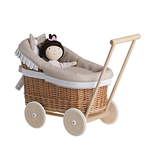 e-wicker24 Landau-Poussette pour poupée en Osier Naturel,poignée et Roues en Bois avec Tissu Beige...