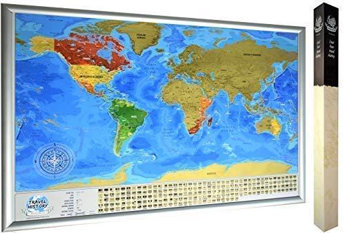 grand Scratchable World Map cadeau pour tout voyageur. couleurs vibrantes Carte du monde /à gratter personnalis/ée Carte de voyage Scratchable d/étaill/ée avec 196 drapeaux de pays