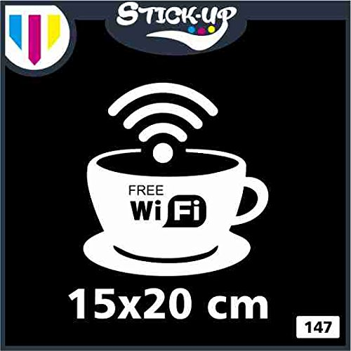 Free WIFI Cup Window Sign Vinyl Sticker Graphics Cafe