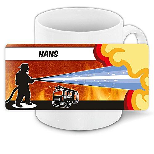 Motivtasse mit Namen Hans und schönem Feuerwehr-Motiv für Jungs