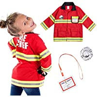 Born Toys Fireman Costume Coat Includes Badge and Firefighter Name TAG