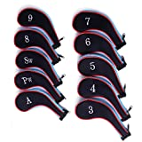 HDE Set of 10 Zip-Up Golf Club Iron & Wedge Head Covers - for Nike, Callaway, TaylorMade, Cleveland, etc. - Blue