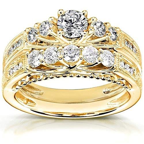 LIXIAQ1 Runde Band Kristall Ring Set Stapeln poliert Engagement Versprechen Hochzeit Schmuck, Größe 9 (Cz 9 Größe Sets, Ehering)