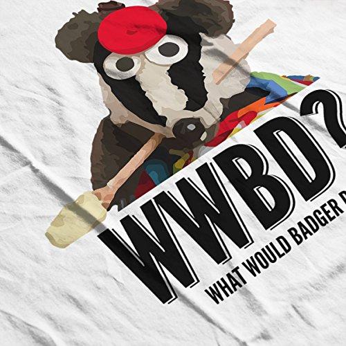 Bodger And Badger What Would Badger Do Spoon Men's Baseball Long Sleeved T-Shirt White/Red