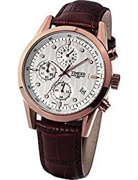 Time W70004G.02A–Watch For Men, Brown Leather Strap