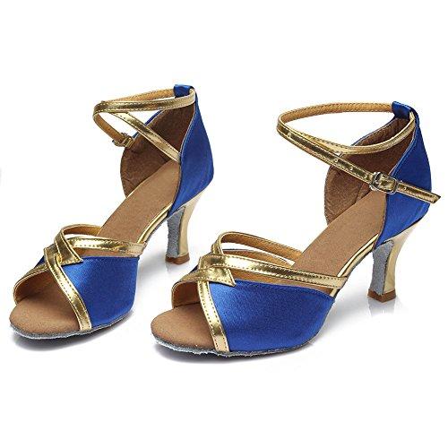 HROYL Damen Tanzschuhe/Latin Dance Schuhe Satin Ballsaal Modell-D7-225 7CM Blau