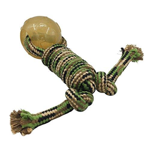 Baumwollknoten Ball am Seil Hundespielzeug Kauspielzeug Katzenspielzeug Spielseile Dental Zahnpflege Tarnung Gummiball