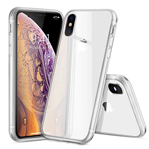 JZWDMD iPhone XS MAX Hülle, Silikon Anti-gelb TPU Hochwertigem Stoßfest, Anti-Fingerabdruck,Bereifte Kante Rahmen Anti Scratch Hülle Crystal Clear Weich Soft Case für iPhone XS MAX,White White Crystal Case