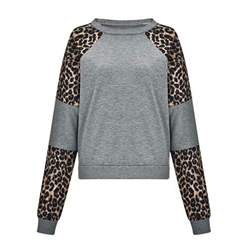 TOPKEAL Lange Ärmel Hoodie Spleißen O Neck Casual Pullover Damen Herbst Winter Kapuzenpullover Sweatshirt Winterpullover Jacke Mantel Mode Tops (Small,Grau)