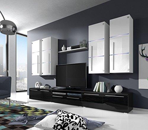Wohnwand B Schwarz+ Weiß Hochglanz✔ Glastüren ✔ Edel ✔ LED Beleuchtung ✔ Modern ✔ Design