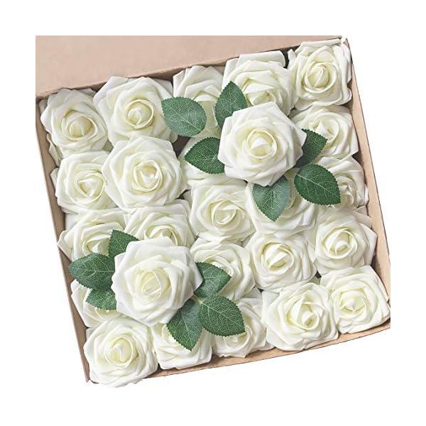 ACDE 25 Piezas Rosas Artificiales, Flores Artificiales Rosa Espuma con Hoja y Vástago Ajustable para Bricolaje Ramos de…