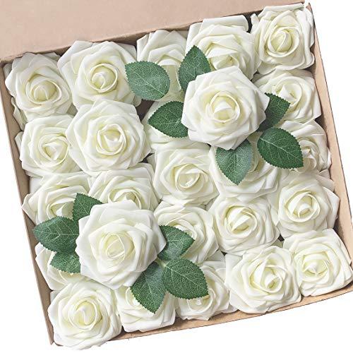 Künstliche Blumen, ACDE Künstliche Rosen 25 Stück Gefälschte Schaum Rosen Echt Schauend mit Blatt und Verstellbarem Stiel für DIY Hochzeit Blumensträuße Braut Party Zuhause Dekorationen (Elfenbein) Diy Bridal Shower
