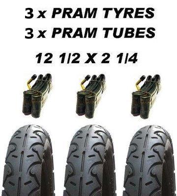 Preisvergleich Produktbild 3x Kinderwagen Räder & 3x Rohr 12 1 / 2 X 2 1 / 4 Profillos Babytrend iCandy Apple Maclaren