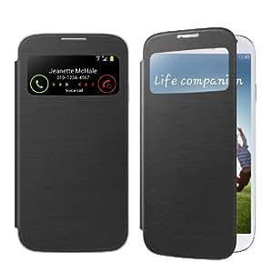 Swees® Etui Housse S View Flip Cover avec fenêtre + Protection d'écran et STYLET pour Samsung Galaxy S4 S IV i9500 - Noir